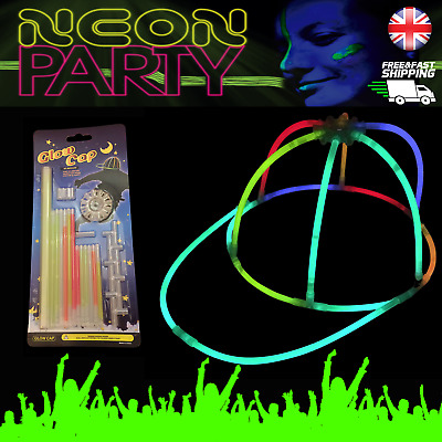 Glow Stick Caps Neon Party Accessory Glow UV Hat Light Stick Glows for hours UK
