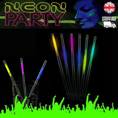 Glow Straws Party Tableware Neon Sticks Drink Stick Straw 6 pieces per pack UK