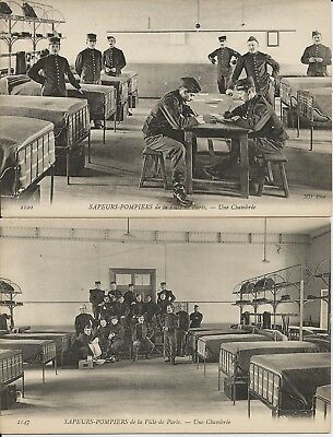 French firefighters (sapeurs-pompiers) in Paris firehouse on 2 photo postcards