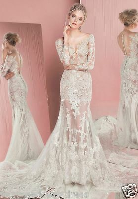 2018 Simple Summer A Line Lace Wedding Dresses Long Sleeve Bridal Gowns Custom