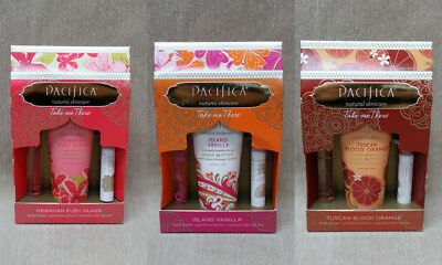 Pacifica Take Me There Set -Body Butter,Roll On Perfume & Natural Color Lip Tint