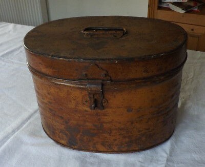 Antique Victorian Metal Tin Oval Hat Box With Handle & Clasp Good Vintage Cond