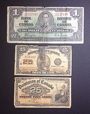 Canada 1900 25 Cent & 1923 25 Cent & 1937 $1 Banknotes. 3 Notes