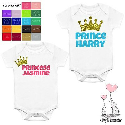Princess / Prince Baby Vest Babygrow Personalised Gift Any Name Sparkle Crown