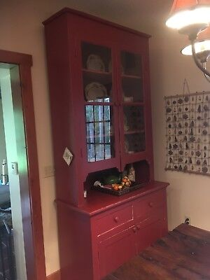 Old, Antique buffet and china hutch, painted red, rustic. Minneapolis area.