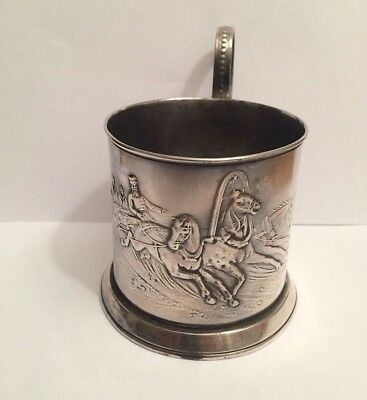 """imper. Russian Silvering.Cup holder """"Russian Trois horses"""". Romanovs dynasty"""