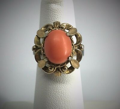 Vintage Costume Ring Faux Angel Skin Coral Oval Cabochon Stainless Ornate Settin