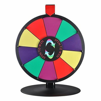 """WinSpin 15"""" 10 Slot Tabletop Color Dry Erase Prize Wheel and Stand Fortune Game"""