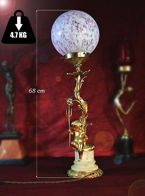 Eastly 1940s Navarro Gilt Bronze / Brass & Alabaster Rococo Putti Table Lamp