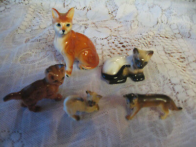 five vintage miniature cat figurines