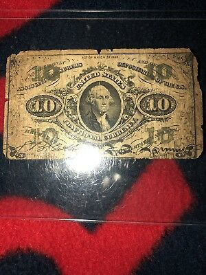 Very Rare Fractional Currency! 10cent Washington Note!