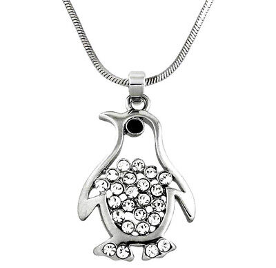 "Silvertone Penguin Pendant Necklace 21"" Chain Rhinestone Crystals Fast Shipping"