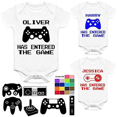 Personalised Baby Grow Vest Body Suit Funny Player 3 Has Entered The Game Geek