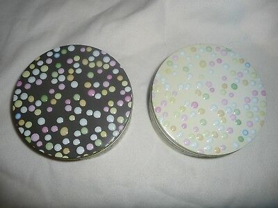 """Joblot 12 New Round 7"""" Metal Tins Sweet Treat Gift Tins.spotty 2 Colours Easter"""