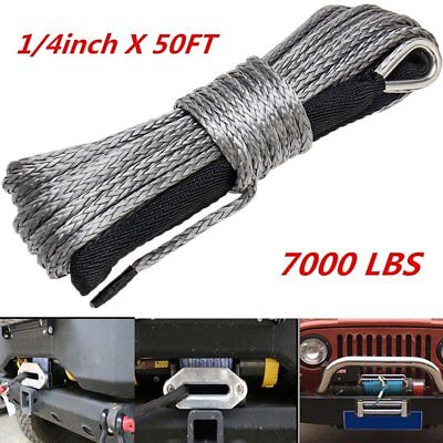 1/4''x50' Synthetic Winch Rope Line Recovery Cable 7000LBS 4WD with Rock Guard