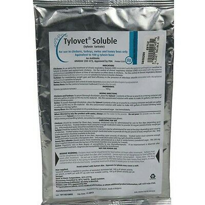 Tylovet Soluble Tylosin 100gm pkg Chickens Swine Turkeys Bees.