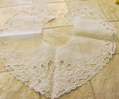 "Vintage White Linen Lace Collar Flower Floral Pattern 5 1/2"" wide NEW"