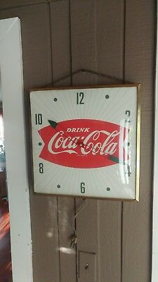 NICE Working Original c. 1950s-1960s Coca Cola Fishtail PAM Clock Sign