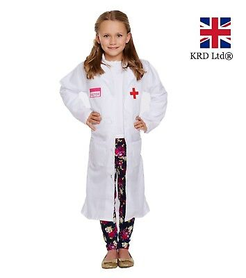 82e76f88cb3 Kids WHITE DOCTOR COAT Fancy Dress Costume Outfit Child Girls Boys Book Week  UK