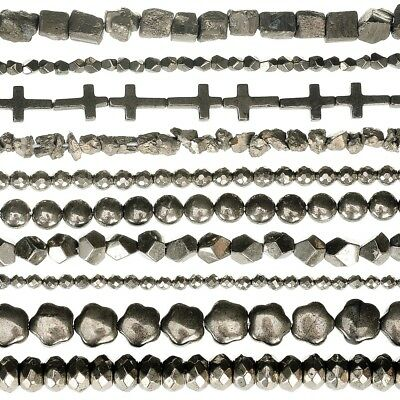 RUBYCA Natural Pyrite Gemstone Loose Copper Stone Beads A Grade Jewelry Making