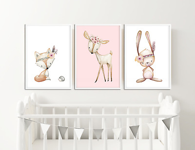 Boho Animal Prints / Pictures For Girls Nursery / Bedroom Set of 3 in White Pink