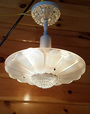 Vtg Antique Art Deco Sunflower Daisy Glass Shade Chandelier Light Fixture