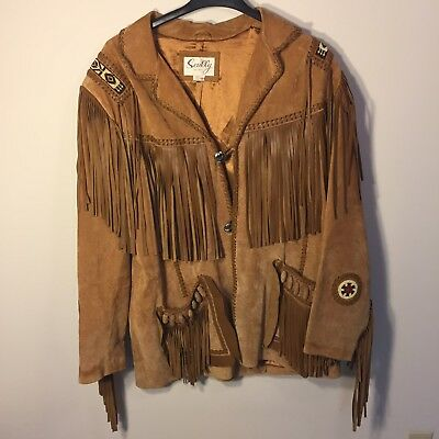 Scully Sz 48 Jacket Western Fringed Beaded Leather Brown Indian Native Rodeo