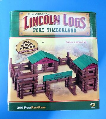 "Lincoln Logs Complete Set  ""Fort Timberland"" Wood 200-Piece New in Original Box"