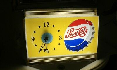 c. 1950s-1960s Pepsi Cola Lighted Bottle Cap Clock Sign