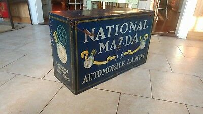 Rare 1920s-1930s National Mazda Auto Lamps Store Display Cabinet Sign H.D. Beach