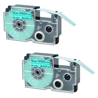 2 PK XR-12GN Black on Green 12mm 8m Label Tapes for Casio KL-2000 XR-12GN1 1/2''
