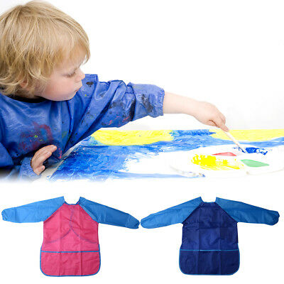 2pcs Children Kids Craft Apron for Painting Smock Waterproof 1 Blue 1 Red TH680