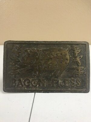 Vtg Antique BACON PRESS Cast Iron Wood Handle Old Kitchenware Pig Hog Meat A28
