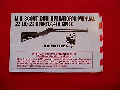 Springfield Armory M6 Scout Survival Rifle Factory Manual-Not A Reprint