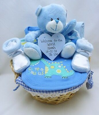 Personalised Baby Boy Blue Gift Hamper Nappy Cake Baby Shower Maternity