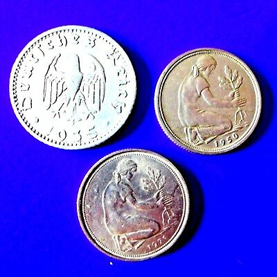 LOT OF 3 COINS GERMANY  50  pfennig  -  1935D, 1950F and 1971D