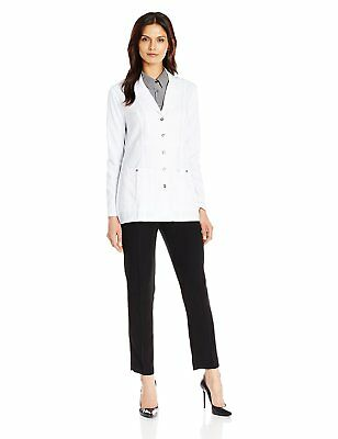 Dickies Women's Xtreme Stretch 28 inch Snap Front Lab Coat, White, XX-Large