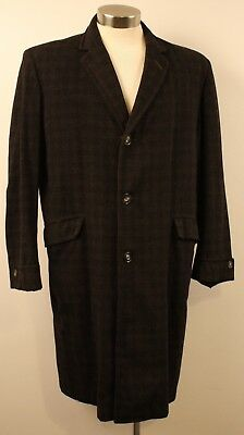 X LARGE  SIZE 6 ORIGINAL VINTAGE 1950s / 60s LONG MENS COAT. GREY, WOOL.