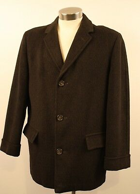 X LARGE  38 R  ORIGINAL VINTAGE 1950s / 60s LONG MENS 3/4 COAT. GREY, WOOL.