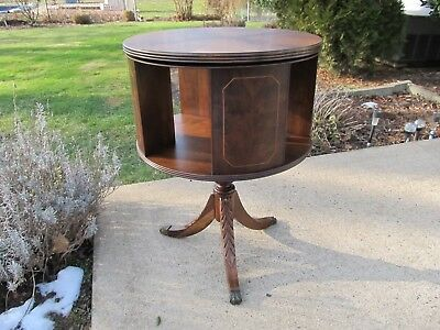 Regency Styled Highly Figured Inlaid Drum Table / Bookcase Burl Walnut