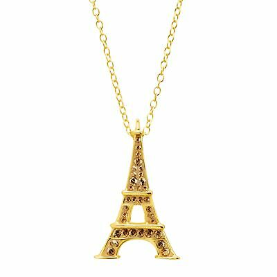 Crystaluxe Eiffel Tower Pendant with Swarovski Crystals, 18K Gold-Plated Silver