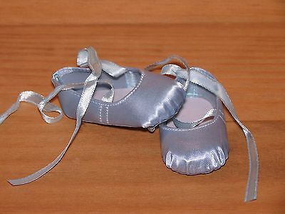Shoes To Fit The American Galoob Baby Face Girl Doll Blue Hard Toe Ballerina