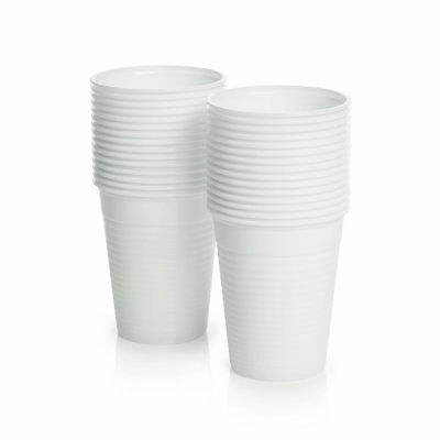 White Plastic 7oz Disposable Cups / Drinking Glass / Vending Style + Free P&P