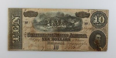 * Feb 17th 1864 Civil War Confederate $10 Note