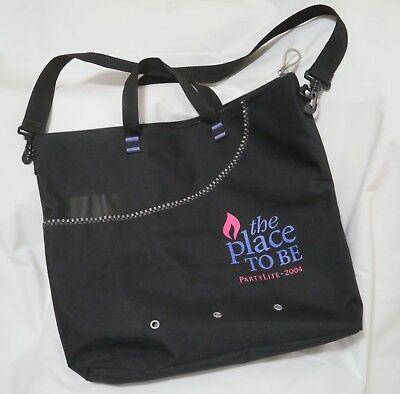 """PartyLite 2004 TOTE BAG """"The Place To Be"""" Extra Large Black RARE FIND"""