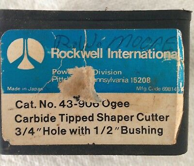 Rockwell #43-906 Ogee Carbide Tipped Shaper Cutter