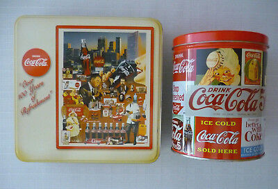 2 Coca-Cola Jigsaw Puzzles in Square & Round Tins Complete