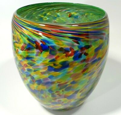 "12"" Hand Blown Glass Art Bowl/Vase, Dirwood, End Of Day, Green Aqua Inside"