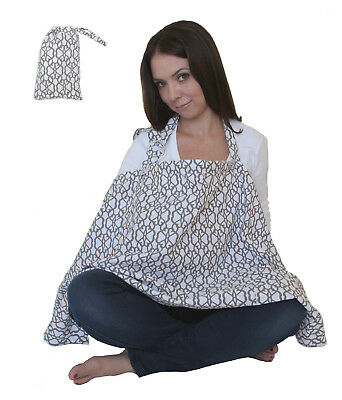 LK Baby Nursing Cover Up Apron for Breastfeeding Privacy Premium Cotton in Grey