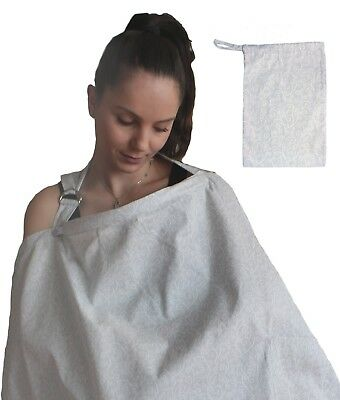 LK Baby Nursing Cover Up Apron for Breastfeeding Privacy Cotton in Grey Swirls